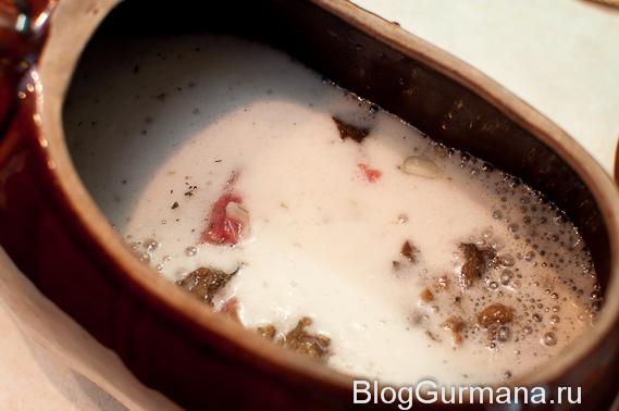 тушёная говядина с грибами в пиве